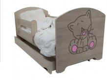 Dětská postel Kočka růžová - barva Dub Sonoma +...