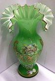 Váza skleněná zavojová malovaná zelená ruční pr...
