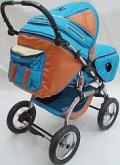 Kočárek Viking LUX bledě modro oranžový kombino...