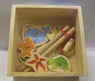 Rybí hra dřevěná chytání rybiček akvarium 2 pru...