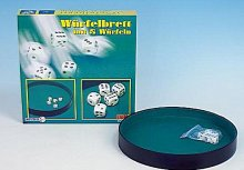 5 hracích kostek a kulatá podložka