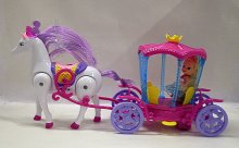 Kočár s chodícím koněm pro panenku pohádkový sv...