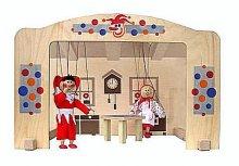 Loutkové divadlo velké celo dřevěné s oponou a ...