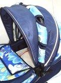 alu sprint květy modré detail látky