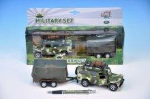 Auto vojenské Land Rover kovové 14,5cm na zpětn...