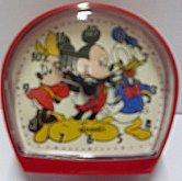 Budík dětský kačer Donald Disney červený na bat...