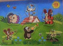 Dřevěné puzzle vkládačka Krtek a kapela barevné...