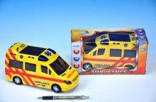 Ambulance plast 21cm narážecí na baterie se svě...