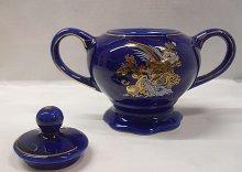 Cukřenka porcelánová modrá kulat...