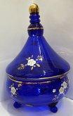 Cukřenka doza malovaná s víkem modrá zlacená ST...