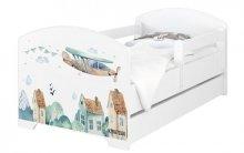 BabyBoo Dětská postel 140 x 70cm - Letadla + šu...