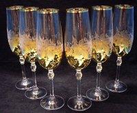 Šampusky sklenice fletny zlacene broušené odliv...