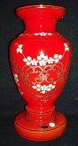 Váza malovaná velká červená zlacená s malovaným...