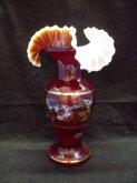 Váza tamvě červená zlacená s vlnkami skleněná S...