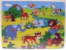 Dřevěné puzzle vkládačka Zvířátka s úchyty