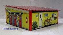 Garáž plechová dětská hračka 3 stání s otevirac...