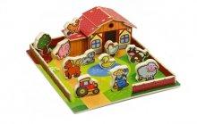 Domeček dřevěná farma se zvířátky v krabici Moj...