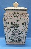 Dóza retro ručně malovaná na rýži keramická zelená
