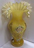 Váza skleněná tanečnice žlutá malovaná ruční pr...