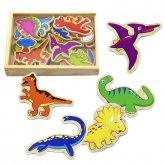 Dřevěné magnety 20 ks Dinosauři v dřevěné uzavi...