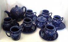 Čajová souprava keramická velká modrý Mramor 15...