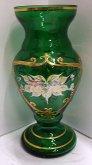 Váza exklusivní skleněná smalt zelená zlacená S...