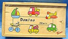 Domino dřevěné letadla auta lodě 28 kusů
