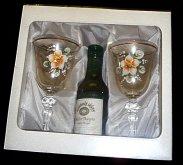 Dárková sada lahev bílého vína a 2 malované skl...