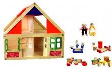 Dřevěný dům pro panenky s vybavením nábytkem a ...