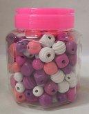 Dřevěné korále Maxi v dóze velké fialové a růžové