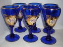 Luxusní sada 6 sklenic smaltovaných modrých na víno bohatě zlacené na koňak STOS 2