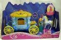 Kočár pohádkový modro žlutý pro panenky s bílým koněm a panenkou