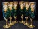 Odlivky sklenice sada 6 kusů smaltované zelené na šampus STO 498