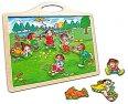 Dřevěné magnetky Děti s Magnetickou tabulí puzzle dřevo Kidi Bino