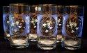 Sklenice odlivkyna pivo či limo modrý dekor s květinami zlacené sada 6 kusů SO 22
